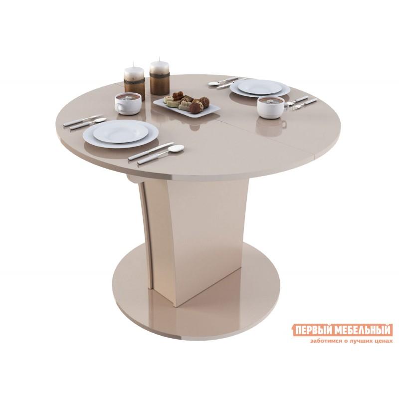 Кухонный стол  Стол обеденный Бергамо 3 NEW круглый Бежевый глянец
