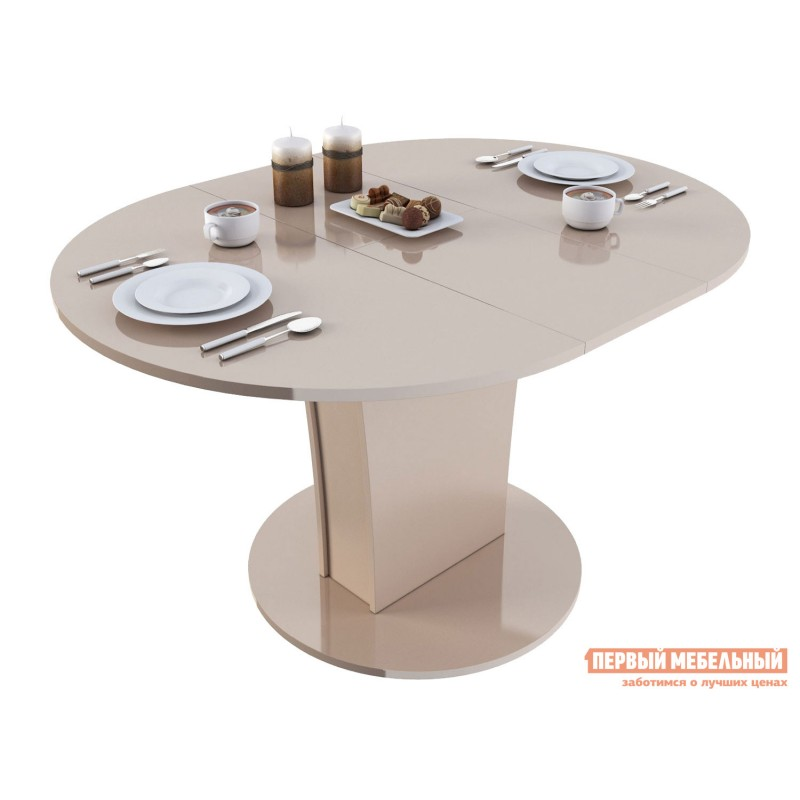 Кухонный стол  Стол обеденный Бергамо 3 NEW круглый Бежевый глянец (фото 2)