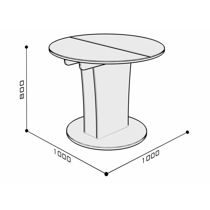 Кухонный стол  Стол обеденный Бергамо 3 NEW круглый Бежевый глянец (фото 3)