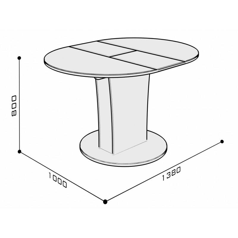 Кухонный стол  Стол обеденный Бергамо 3 NEW круглый Бежевый глянец (фото 4)