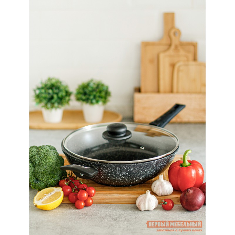 Сковорода  Сковорода CASTA AVRORA ВОК 28 см, 3,8л  литая. Съёмная ручка Черный мрамор (фото 4)