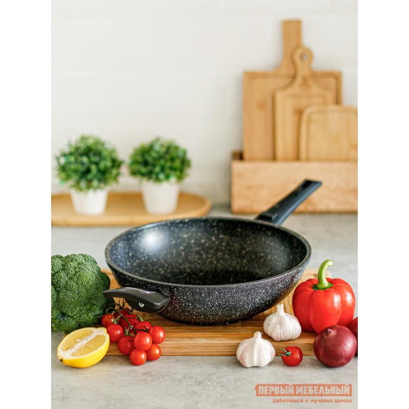 Сковорода  Сковорода CASTA AVRORA ВОК 28 см, 3,8л  литая. Съёмная ручка Черный мрамор (фото 5)