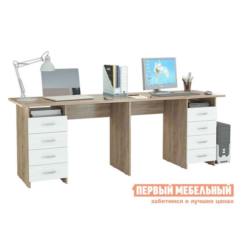 Компьютерный стол  Стол для двоих Тандем-3 (0120) Дуб сонома / Белый