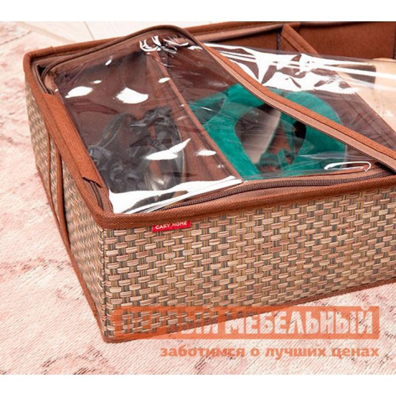 Кофр  Органайзер для обуви 4 ячейки 28х56х12см Бежевый (фото 3)
