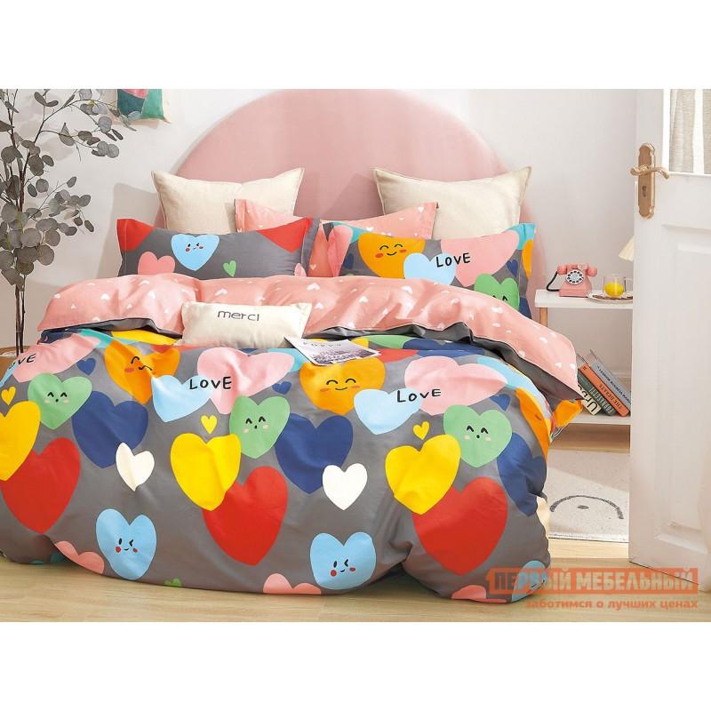 Комплект постельного белья  КПБ сатин Основа Снов серый, сердца Сердца, серый, сатин, Полутороспальный