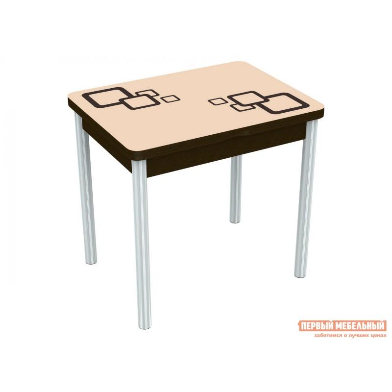 Кухонный стол  Бари - рисунок Стекло Молочное, Рисунок Коричневый (квадро) / ЛДСП Венге