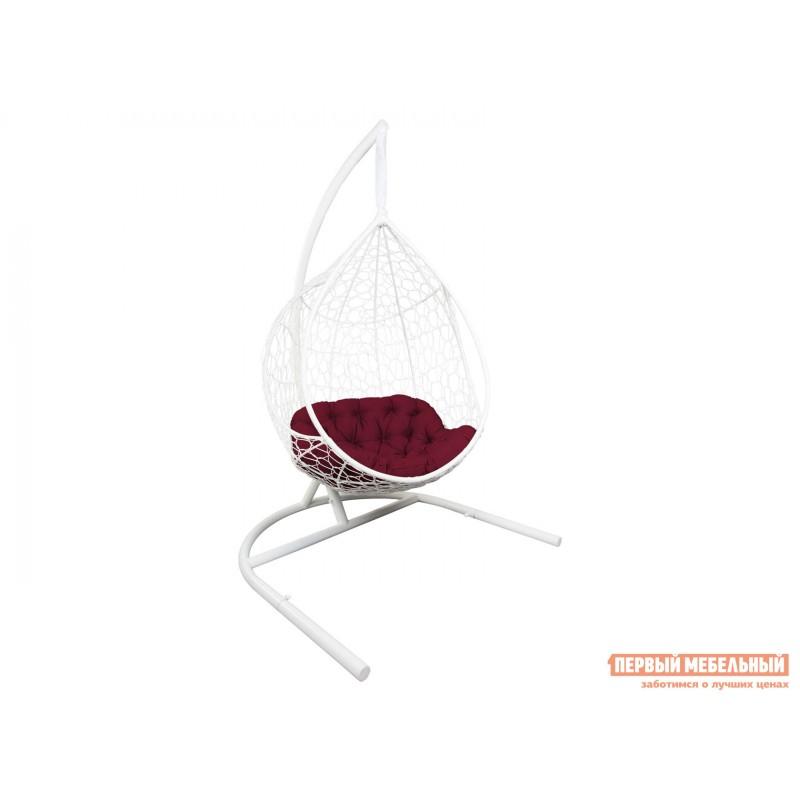 Подвесное кресло  СИРИУС Белый, ротанг / Бордовый, ткань