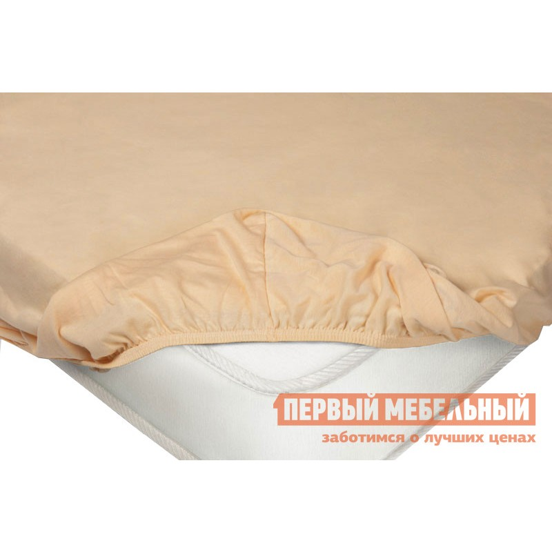 Простыня  Простыня на резинке трикотажная Персиковый, 1600 Х 2000 Х 200 мм