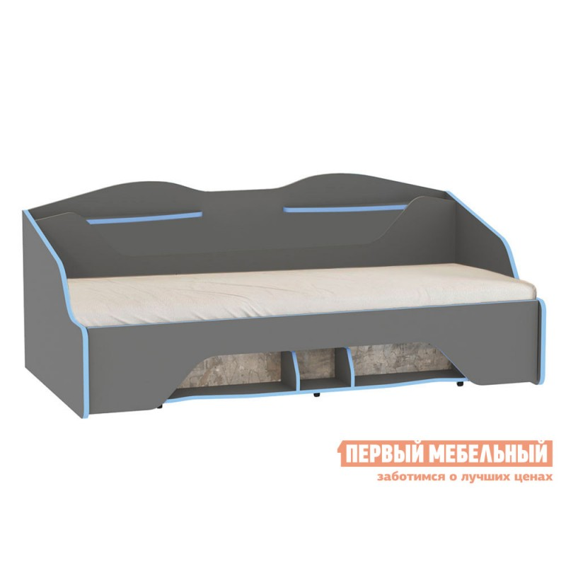 Детская кровать  Кровать Индиго Тёмно-серый / Граффити, Без подсветки