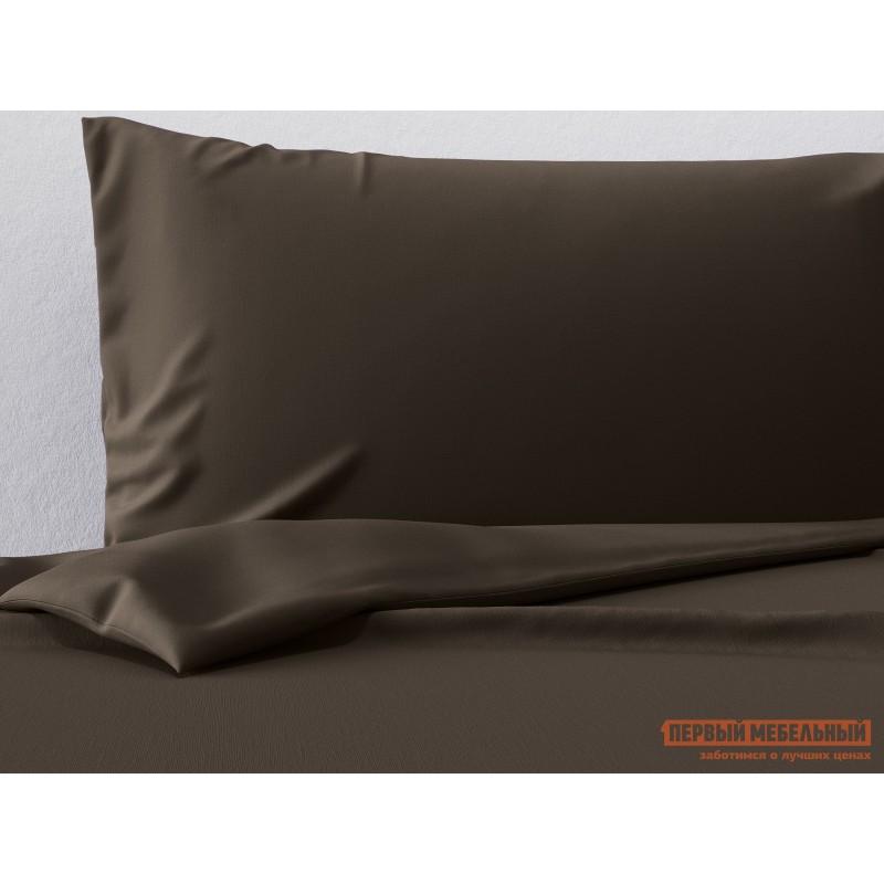 Комплект постельного белья  КПБ сатин однотонный (шоколад ОСНОВА СНОВ) Шоколадный, сатин, Евро