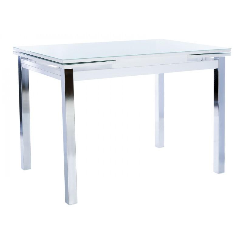 Кухонный стол  Стол раздвижной Leset Париж 2Р Хром / Стекло белое