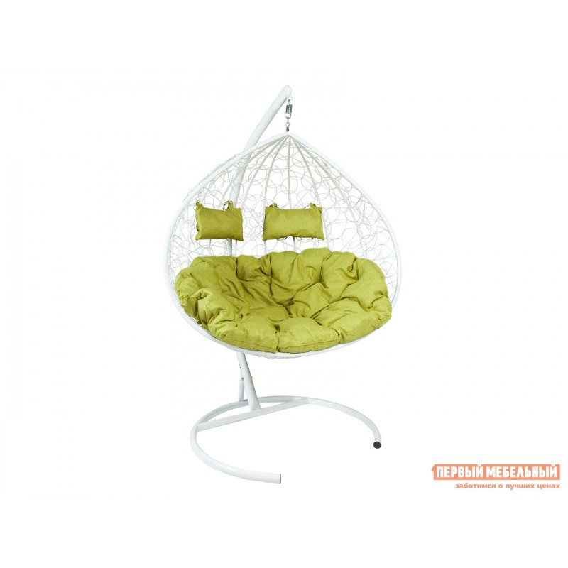 Подвесное кресло  Подвесное кресло Z-06 Белый, ротанг / Зеленый, ткань