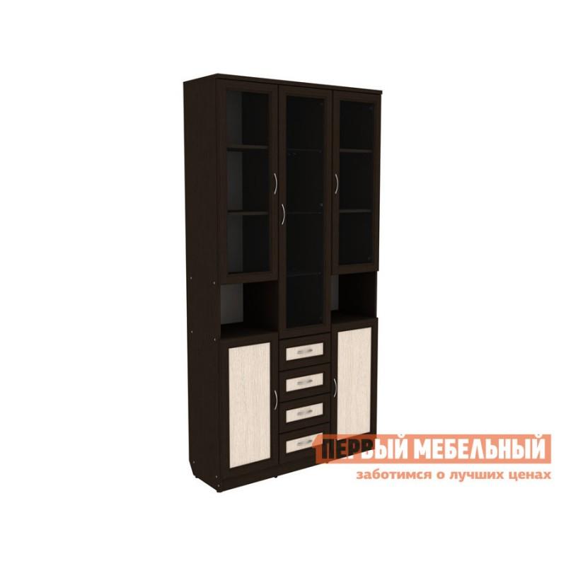 Шкаф-витрина  Мерлен 210 с ящиками Венге / Дуб Атланта