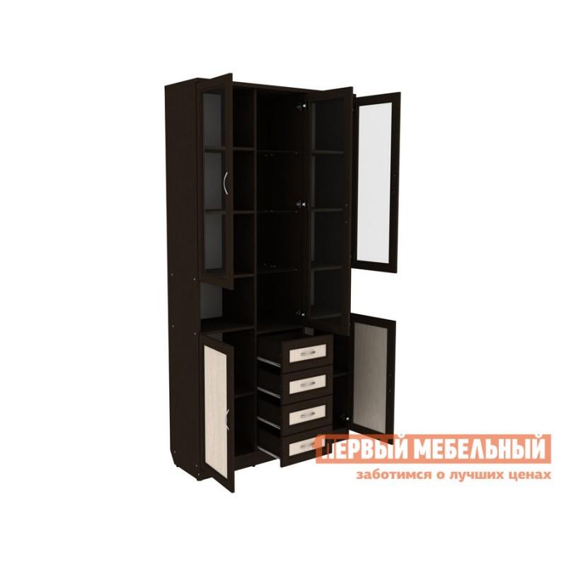 Шкаф-витрина  Мерлен 210 с ящиками Венге / Дуб Атланта (фото 2)