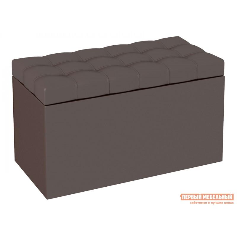 Банкетка  Пуф-сундук Квадро Шоколадный, кожзам