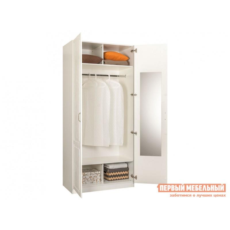 Распашной шкаф  Шкаф 2-х створчатый с зеркалом 13.134 Ливерпуль Ясень Ваниль / Белый, Без карниза (фото 2)