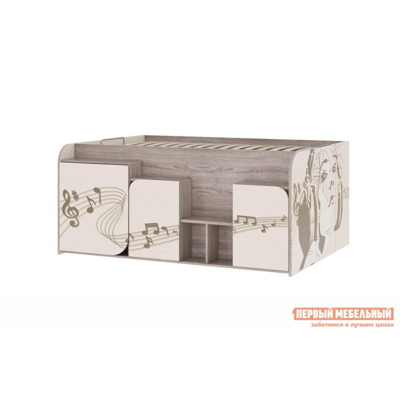 Кровать-чердак  Кровать Бумбокс Дуб Сонома / Бежевый, 1200 Х 2000 мм, Правый