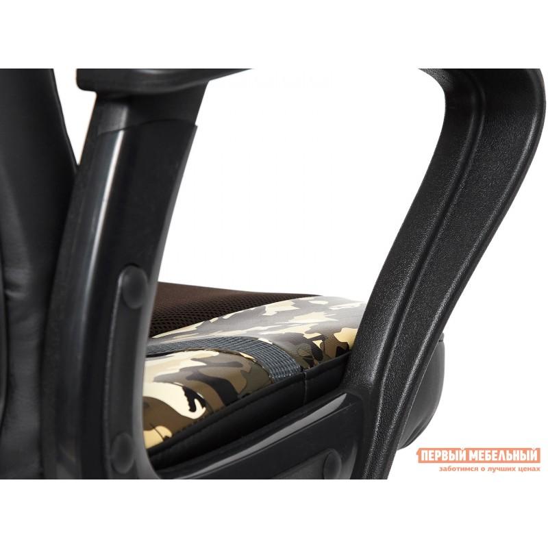 Офисное кресло  RUNNER military Ткань принт хаки / Иск. кожа черный / Сетка кор/сер (фото 6)
