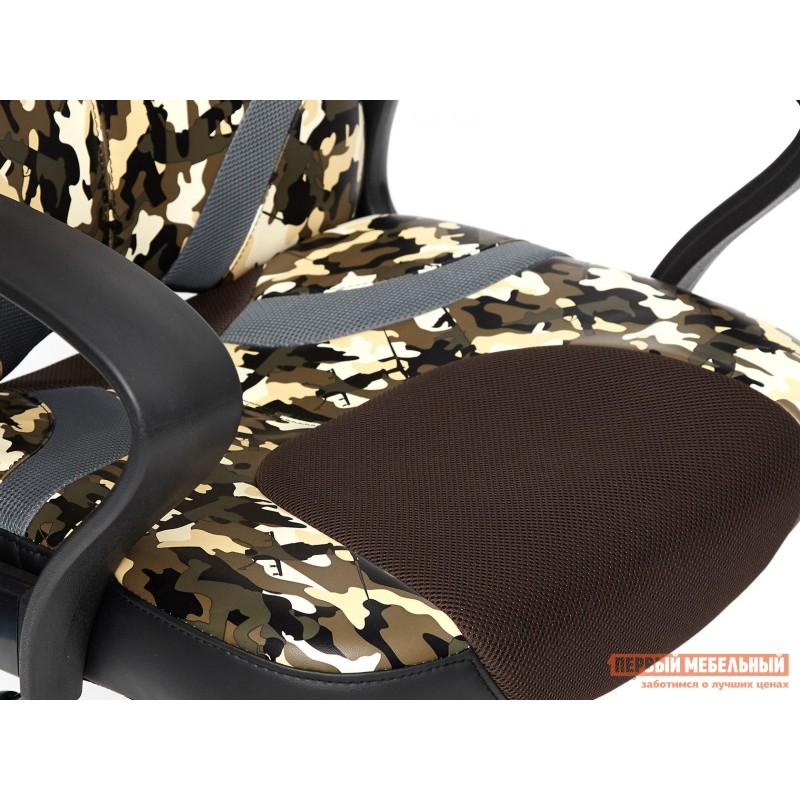 Офисное кресло  RUNNER military Ткань принт хаки / Иск. кожа черный / Сетка кор/сер (фото 7)