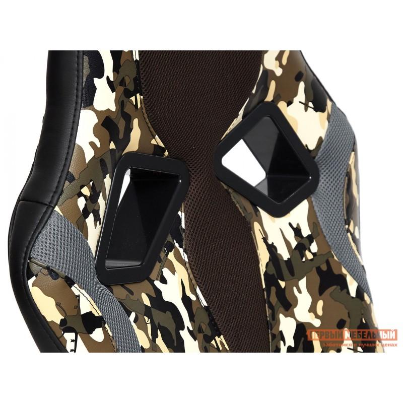 Офисное кресло  RUNNER military Ткань принт хаки / Иск. кожа черный / Сетка кор/сер (фото 8)