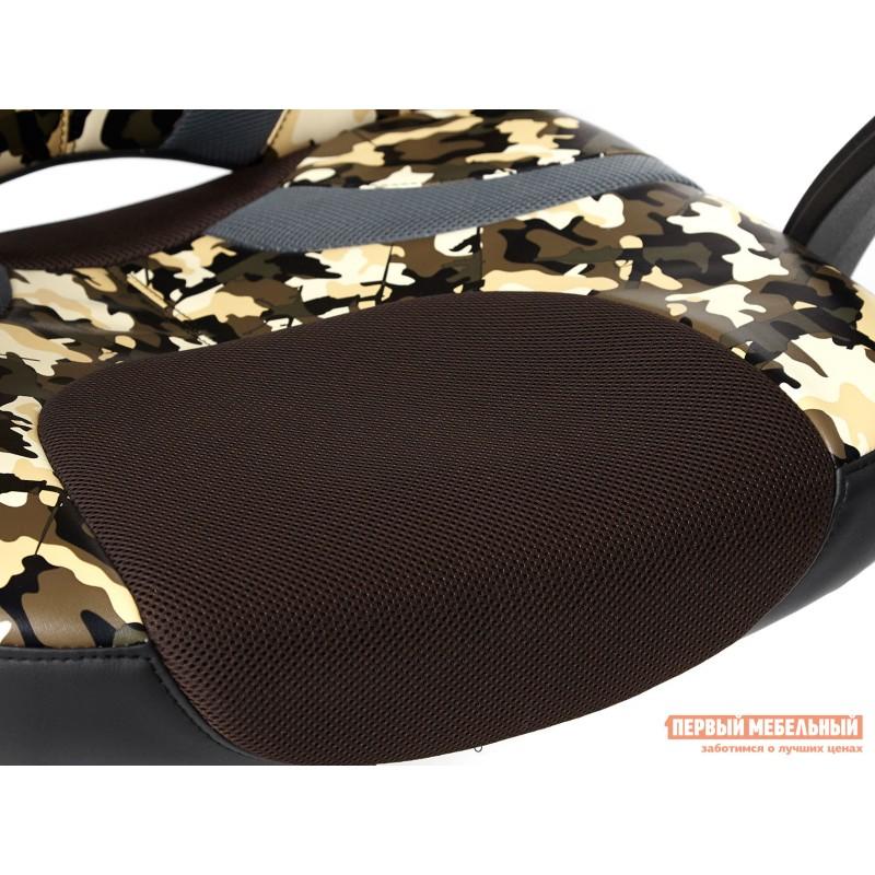 Офисное кресло  RUNNER military Ткань принт хаки / Иск. кожа черный / Сетка кор/сер (фото 9)