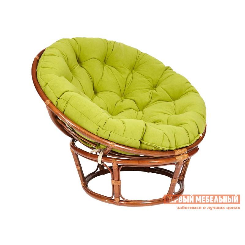 Плетеное кресло  PAPASAN Орех, ротанг / Оливковый, флок, Оливковый, флок