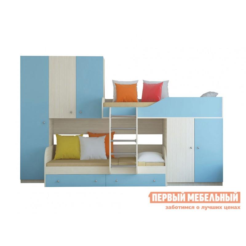 Кровать-чердак  Двухъярусная кровать Лео Дуб Молочный / Голубой