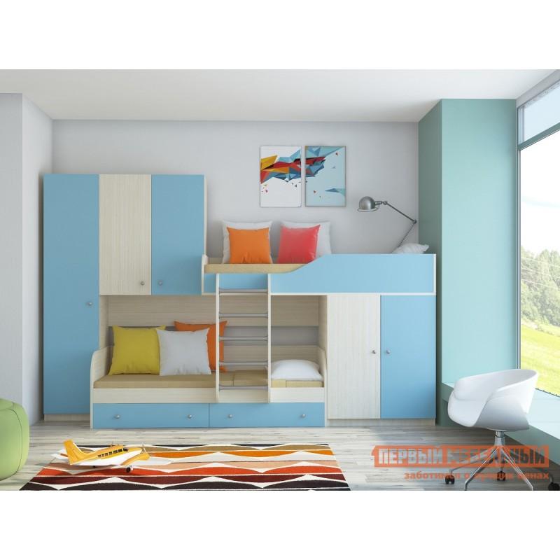 Кровать-чердак  Двухъярусная кровать Лео Дуб Молочный / Голубой (фото 2)