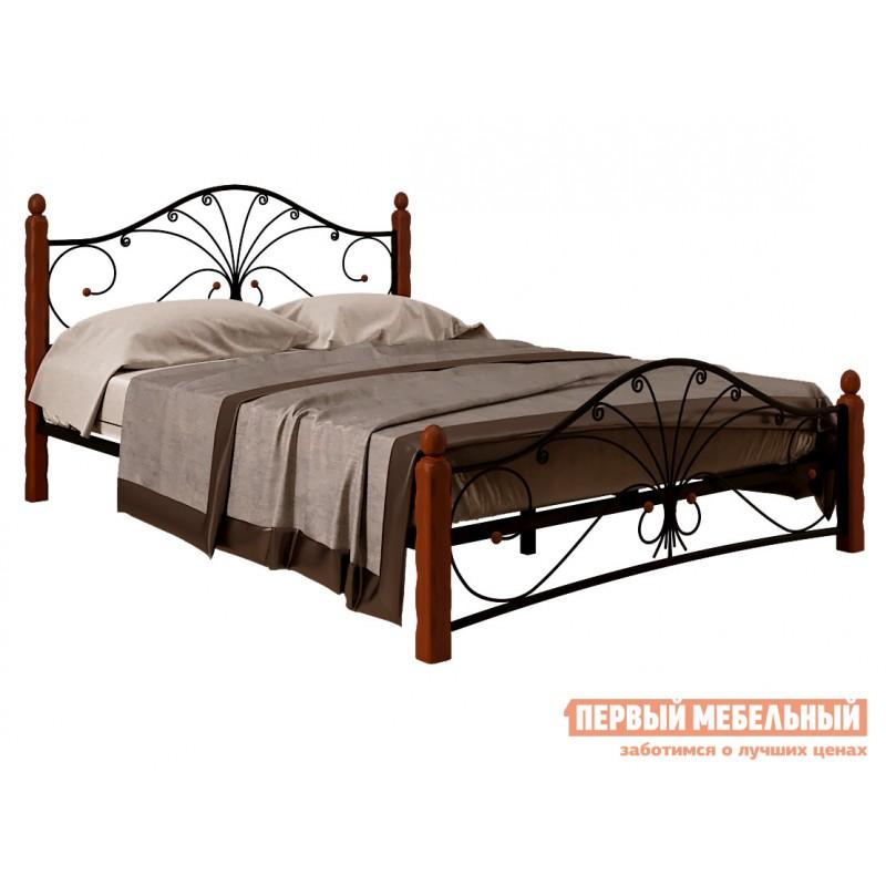 Двуспальная кровать  Кровать Сандра Черный металл, каркас / Махагон массив, опоры, 1400 Х 2000 мм