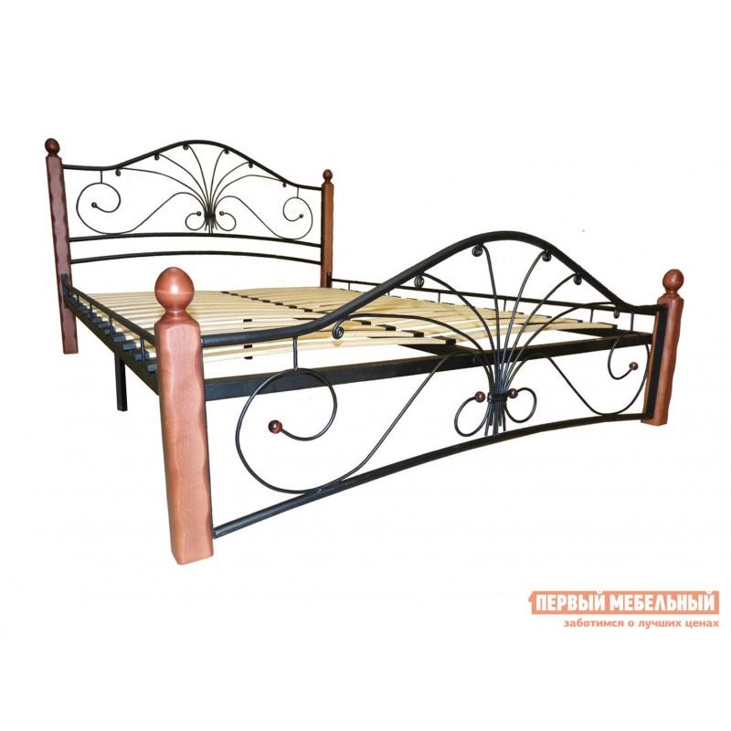 Двуспальная кровать  Кровать Сандра Черный металл, каркас / Махагон массив, опоры, 1400 Х 2000 мм (фото 2)