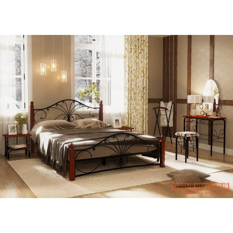 Двуспальная кровать  Кровать Сандра Черный металл, каркас / Махагон массив, опоры, 1400 Х 2000 мм (фото 3)