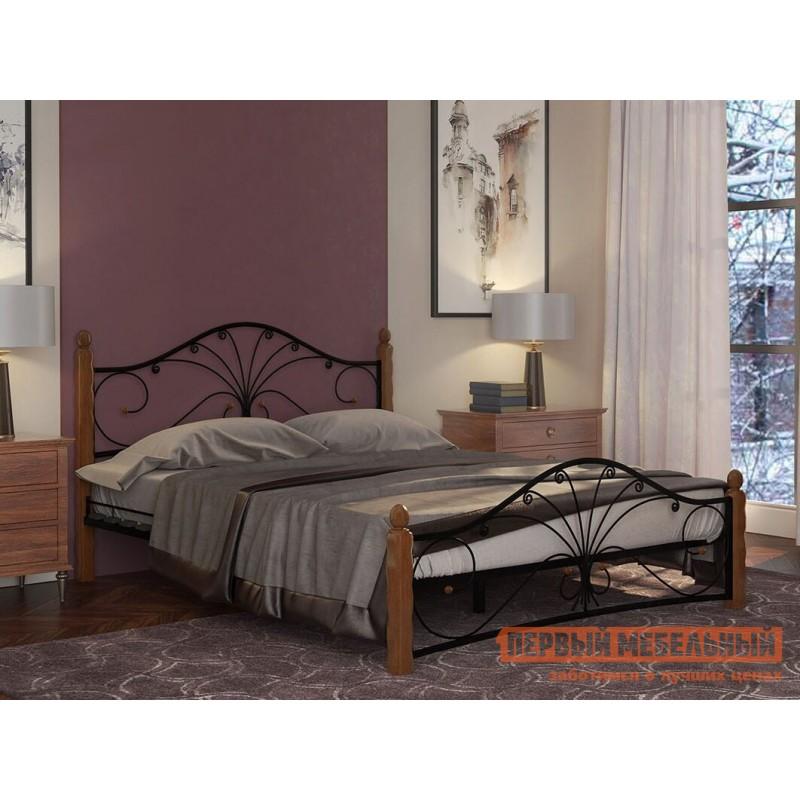 Двуспальная кровать  Кровать Сандра Черный металл, каркас / Махагон массив, опоры, 1400 Х 2000 мм (фото 4)
