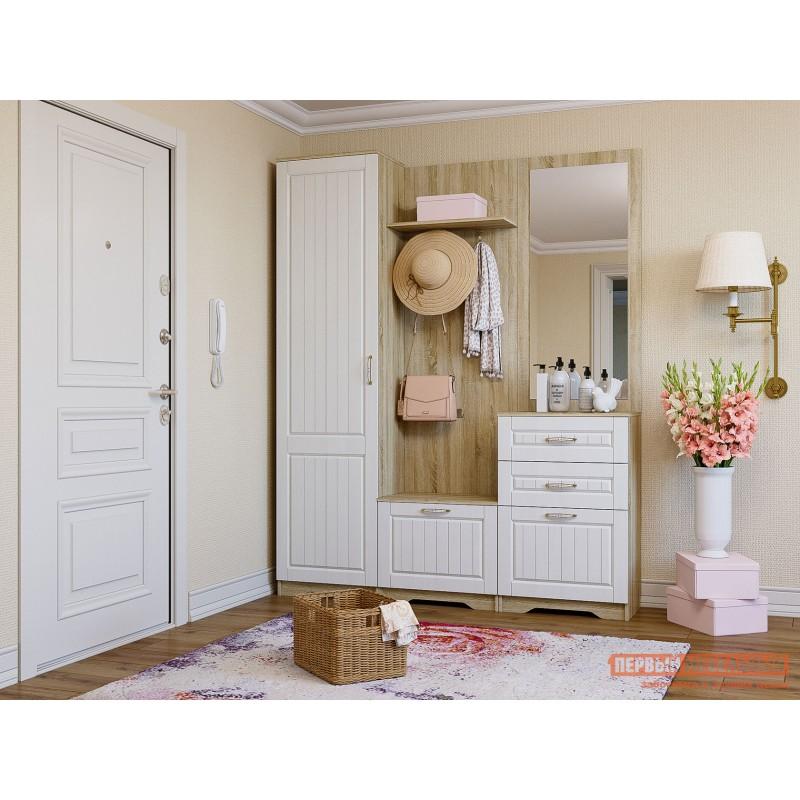 Распашной шкаф  Шкаф 1 дв Оливия Лайт НМ 014.71 Дуб сонома / Белое дерево, Левый, Без дополнительных полок (фото 3)
