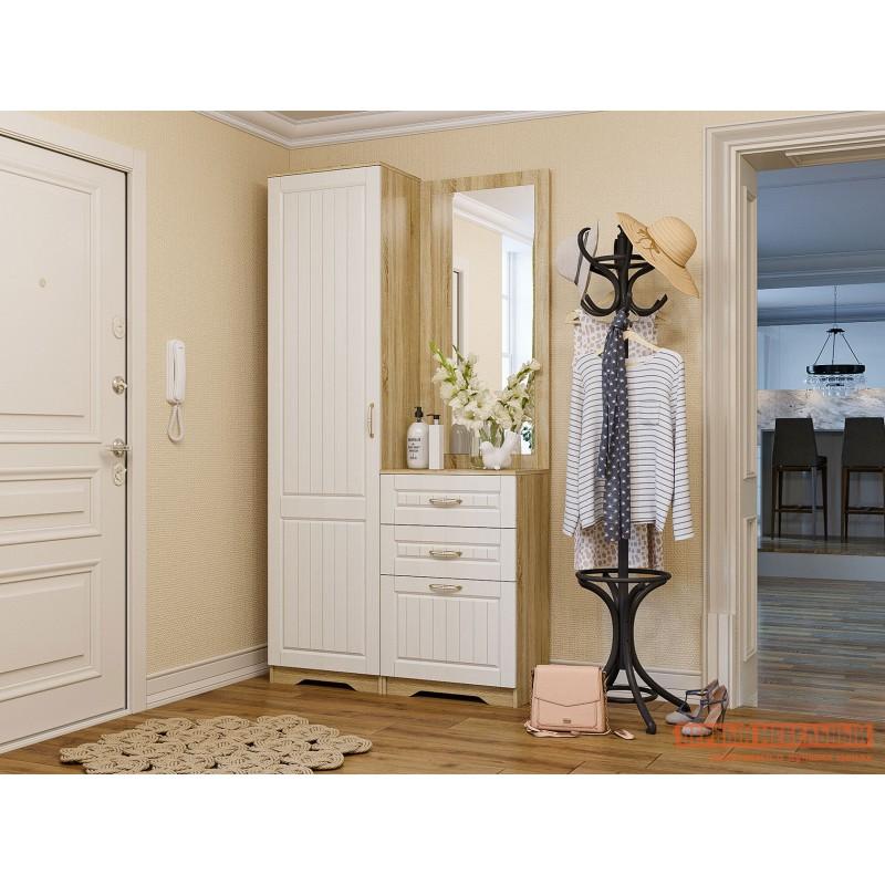 Распашной шкаф  Шкаф 1 дв Оливия Лайт НМ 014.71 Дуб сонома / Белое дерево, Левый, Без дополнительных полок (фото 4)