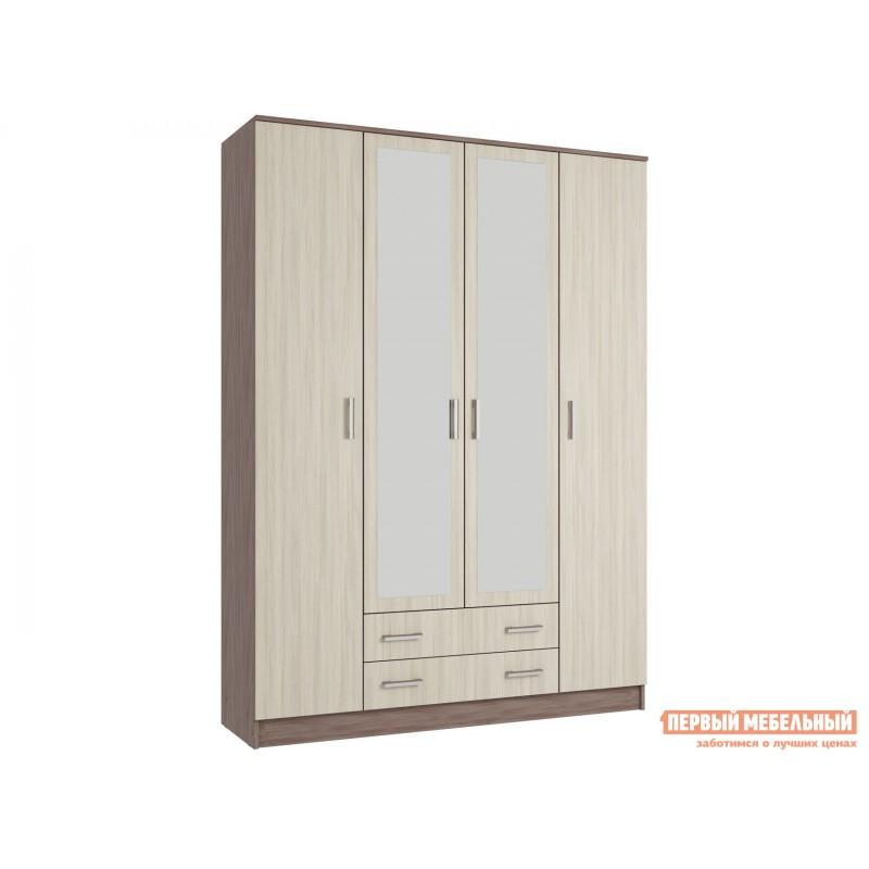 Распашной шкаф  Шкаф 4-х створчатый с зеркалом Эко Ясень шимо светлый / Ясень шимо темный