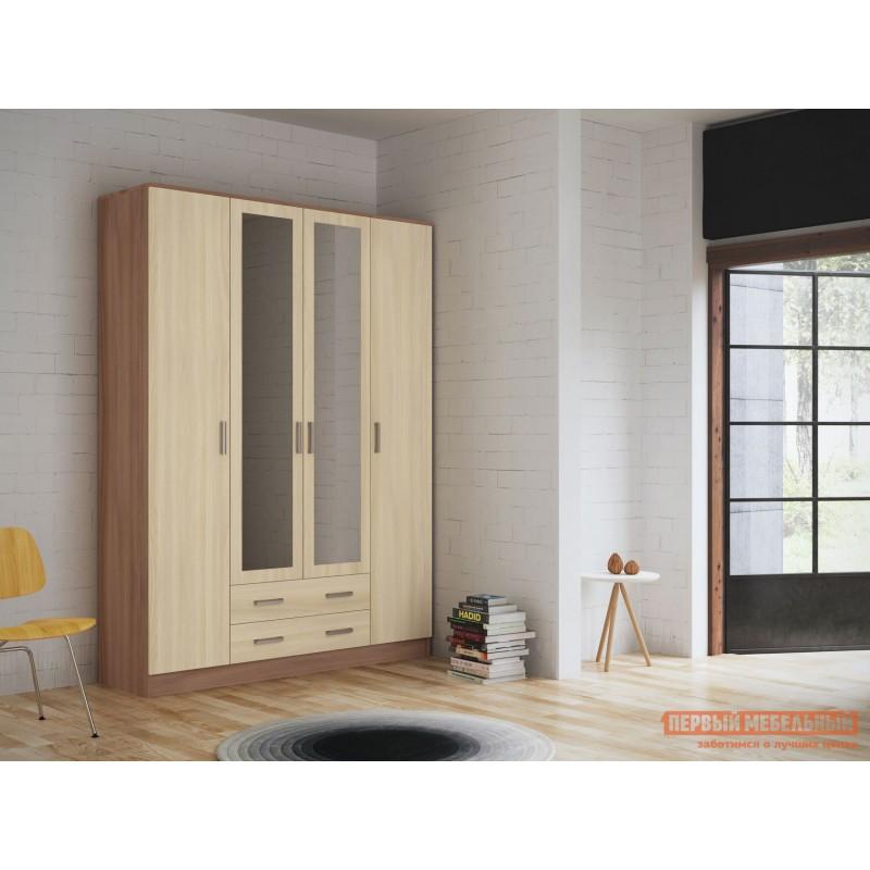 Распашной шкаф  Шкаф 4-х створчатый с зеркалом Эко Ясень шимо светлый / Ясень шимо темный (фото 2)