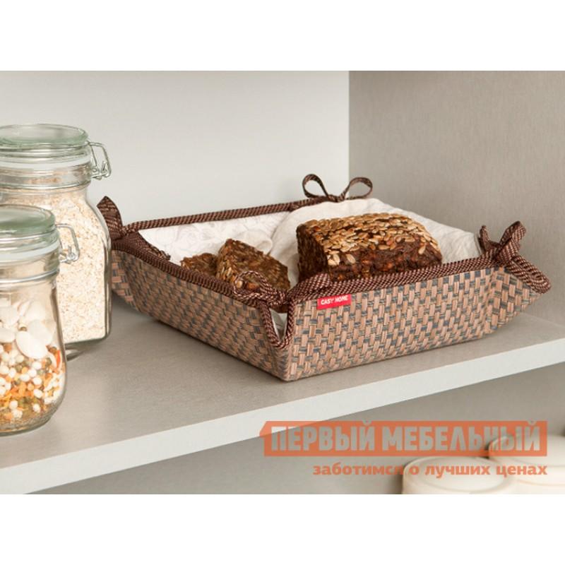 Хлебница  Хлебница 20х20х7см Коричневый, текстилен / Бежевый, цветы (фото 3)