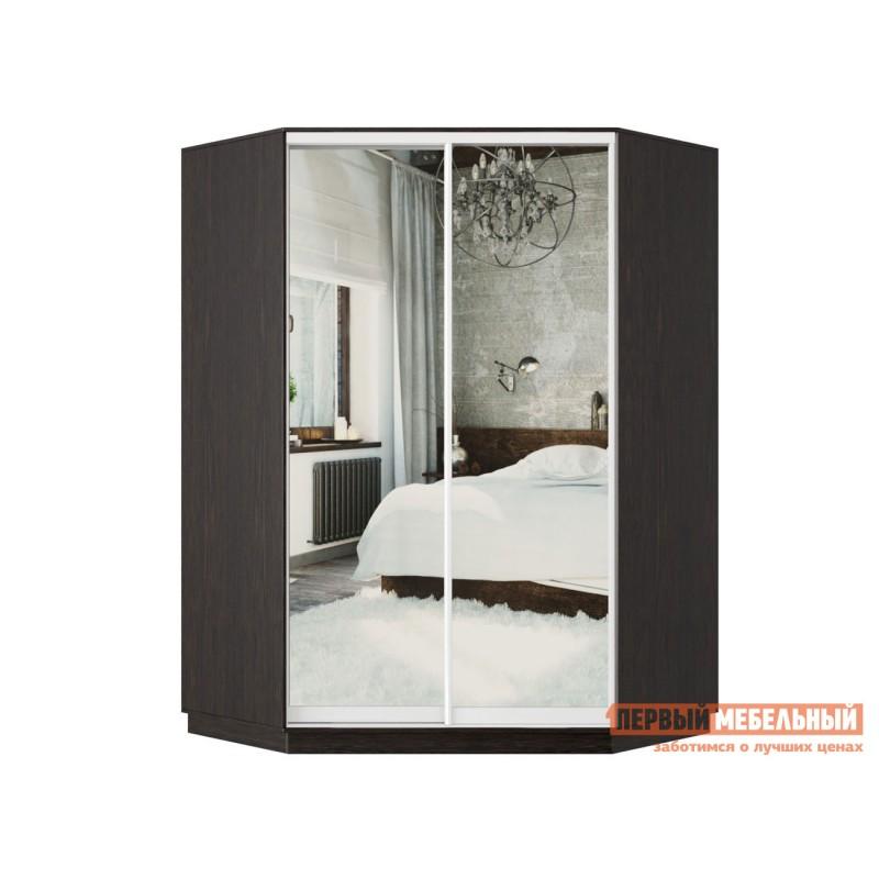Шкаф-купе  Угловой Классика 71, Двери 01+01 Венге, Зеркало / Белый глянец