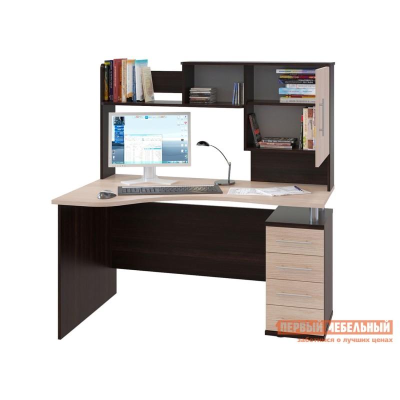 Компьютерный стол  КСТ-104.1 + КН-14 Корпус Венге / Фасад Беленый дуб, Правый