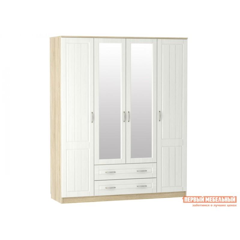 Распашной шкаф  Шкаф 4 дв Оливия Лайт НМ 011.84 Дуб сонома / Белое дерево