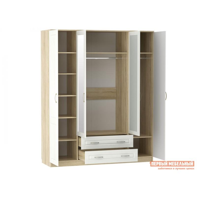 Распашной шкаф  Шкаф 4 дв Оливия Лайт НМ 011.84 Дуб сонома / Белое дерево (фото 2)