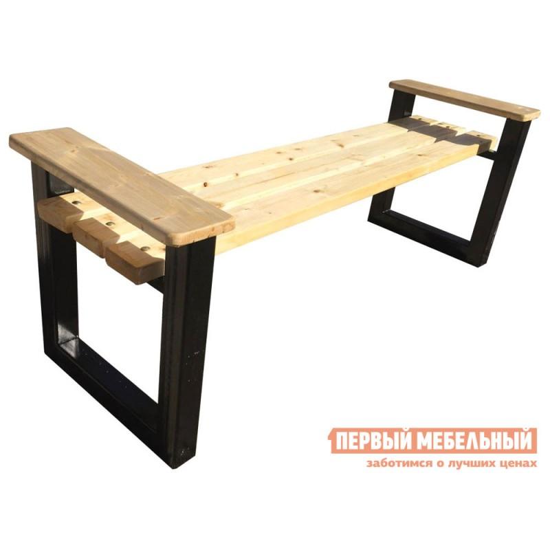 Скамейка  МОДЕРН-60 Натуральный, дерево / Черный, металл, 1500 мм