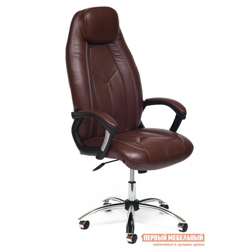 Кресло руководителя  BOSS (хром) Иск.кожа коричневый 2 TONE/Коричневый перфор. 2 TONE