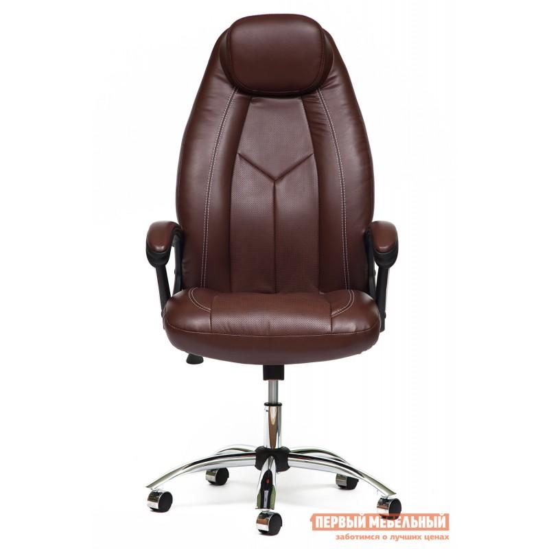 Кресло руководителя  BOSS (хром) Иск.кожа коричневый 2 TONE/Коричневый перфор. 2 TONE (фото 2)