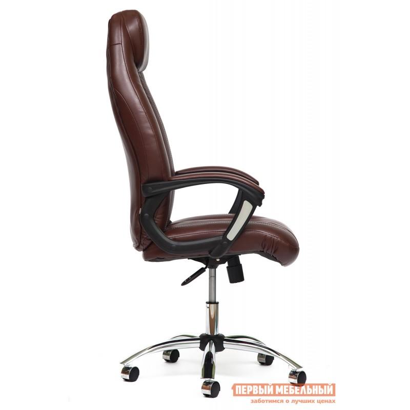 Кресло руководителя  BOSS (хром) Иск.кожа коричневый 2 TONE/Коричневый перфор. 2 TONE (фото 3)