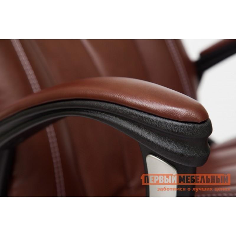 Кресло руководителя  BOSS (хром) Иск.кожа коричневый 2 TONE/Коричневый перфор. 2 TONE (фото 4)