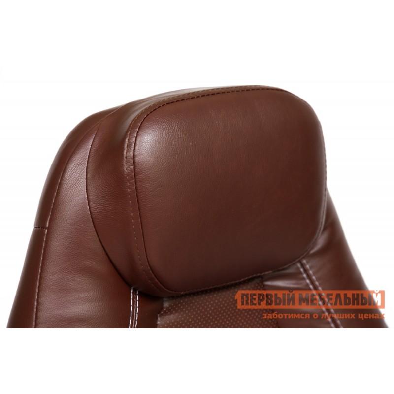 Кресло руководителя  BOSS (хром) Иск.кожа коричневый 2 TONE/Коричневый перфор. 2 TONE (фото 5)