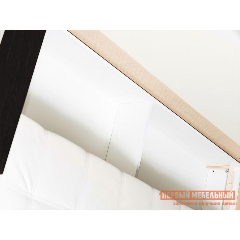 Прямой диван  Атланта Молочный, экокожа / Темно-коричневый, иск. кожа (фото 3)