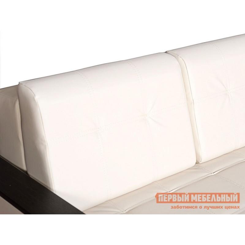 Прямой диван  Атланта Молочный, экокожа / Темно-коричневый, иск. кожа (фото 5)