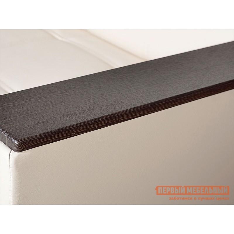 Прямой диван  Атланта Молочный, экокожа / Темно-коричневый, иск. кожа (фото 6)